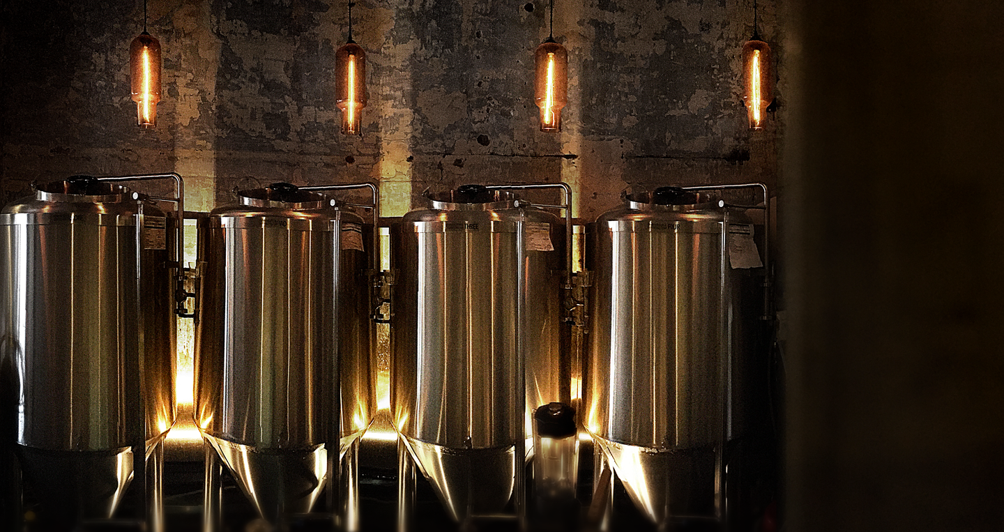 The four 600 litre fermentation tanks that is responsible for the production of all our beers.